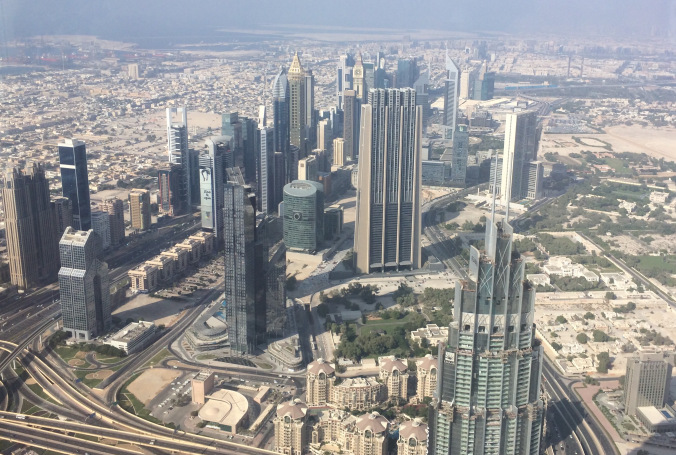Vistas del DIFC desde el Burj Khalifa